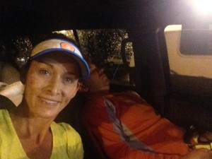 Before the Looney Midnight Marathon. My husband/race partner getting some sleep.